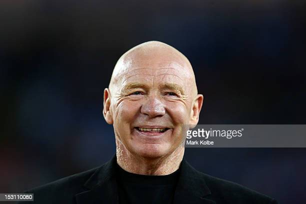 Former rugby league great and one of the rugby league Immortals, Bob Fulton looks on at half-time during the 2012 NRL Grand Final match between the...