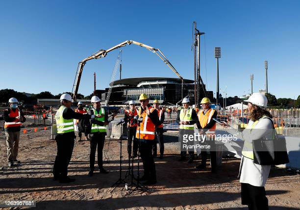 Former Rugby League player Brad Fittler speaks to the media at the new Sydney Football Stadium on August 05 2020 in Sydney Australia Construction on...
