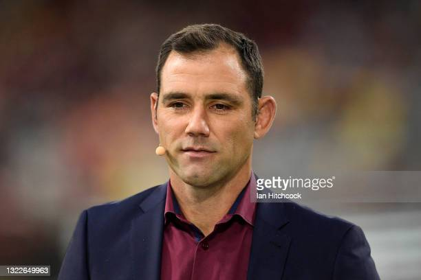 Former rugby league player Cameron Smith is seen before game one of the 2021 State of Origin series between the New South Wales Blues and the...