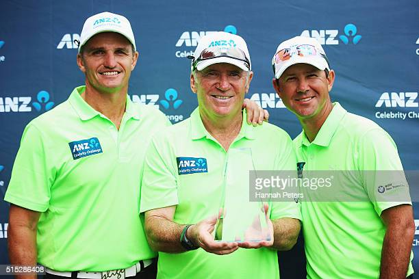 Former rugby league player Ivan Cleary former Australian cricketer Alan Border and former Australian cricketer Ricky Ponting pose with the Celebrity...
