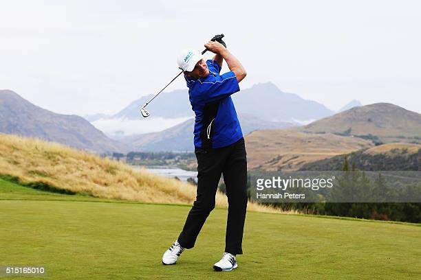 Former rugby league player Ivan Cleary tees off during day four of the 2016 New Zealand Open at The Hills on March 13 2016 in Queenstown New Zealand