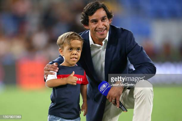 Former rugby league player Johnathan Thurston poses with Quaden Bayles before the NRL match between the Indigenous All-Stars and the New Zealand...
