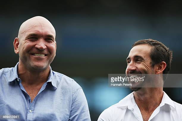 Former rugby league players Gorden Tallis and Andrew Johns take part in during the opening ceremony prior to the start of the Auckland NRL Nines at...