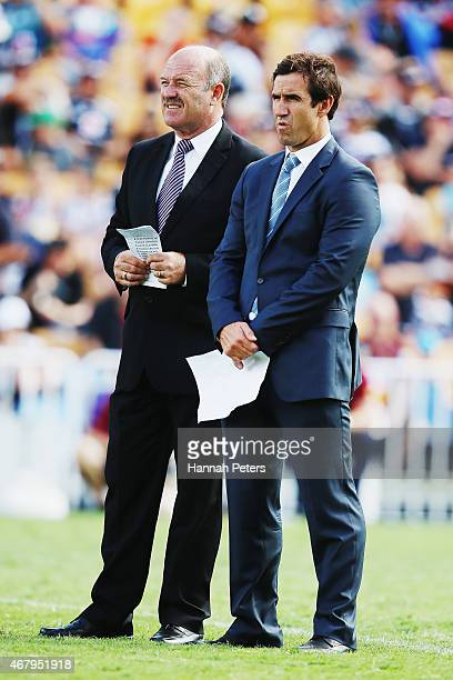 Former rugby league players Wally Lewis and Andrew Johns look on prior to the round four NRL match between the New Zealand Warriors and the Brisbane...