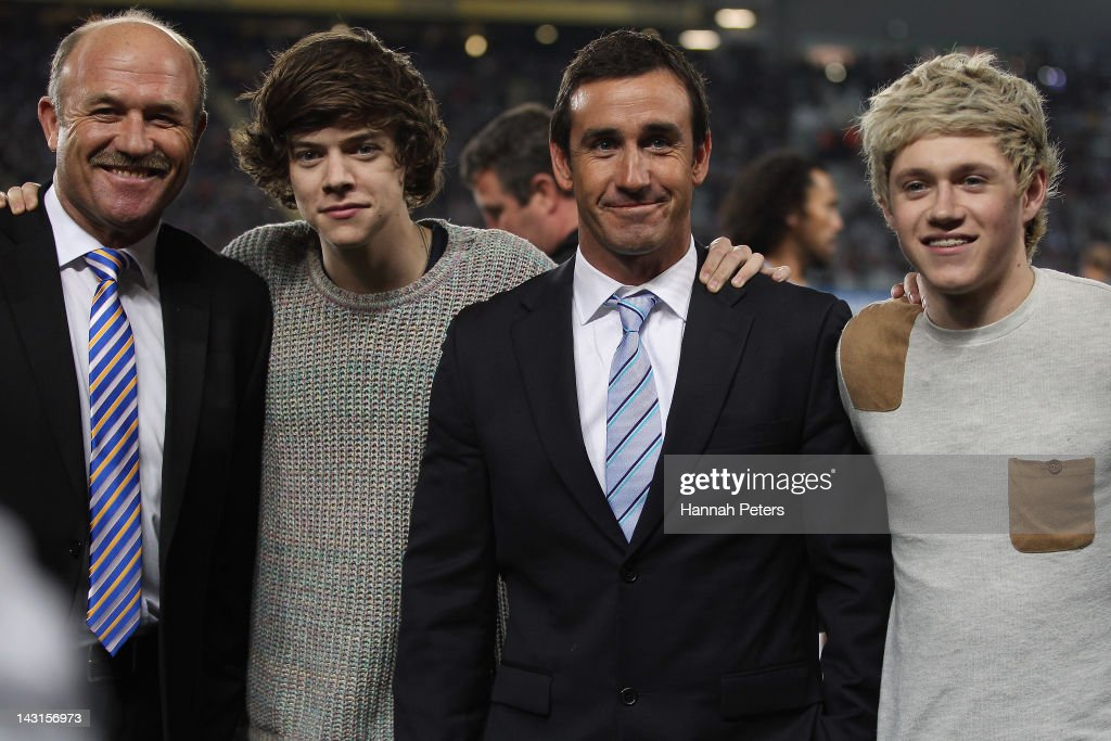 Former rugby league players Wally Lewis and Andrew Johns pose for a photo with Harry Styles and Niall Horan of One Direction during the ANZAC Test match between the New Zealand Kiwis and the Australian Kangaroos at Eden Park on April 20, 2012 in Auckland, New Zealand.