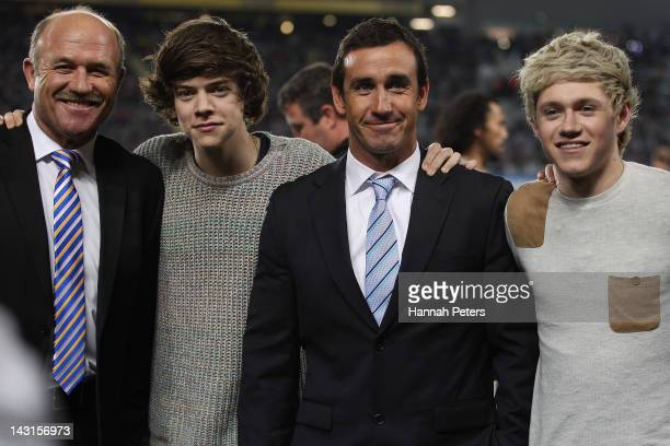 Former rugby league players Wally Lewis and Andrew Johns pose for a photo with Harry Styles and Niall Horan of One Direction during the ANZAC Test...