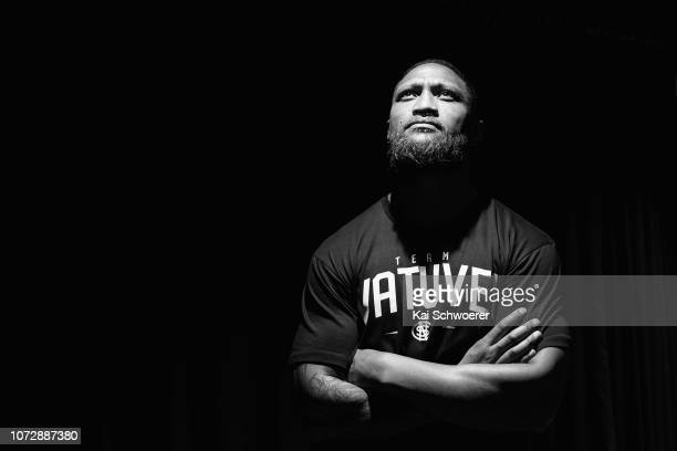 Former Rugby League star Manu Vatuvei poses during the weigh in ahead of the bout between Joseph Parker and Alexander Flores on December 14 2018 in...