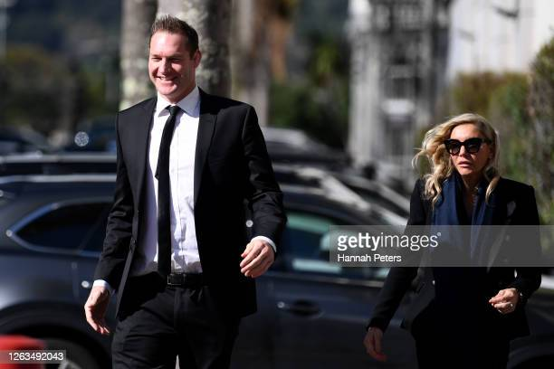 Former rugby player Ali Williams and partner Ana Mowbray attend the funeral service for Andy Haden at Eden Park on August 03 2020 in Auckland New...