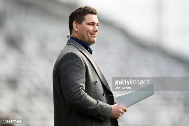 Former rugby player and tv commentator Joe Wheeler looks on during the round 10 Super Rugby Aotearoa match between the Highlanders and the Hurricanes...