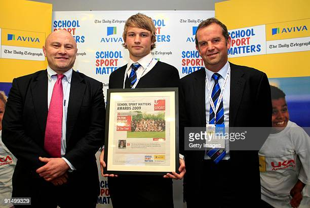 Former rugby player Brian Moore poses with Filton School's Matt Belbin and teacher Simon Panes after winning the School Team of the Year Commended...