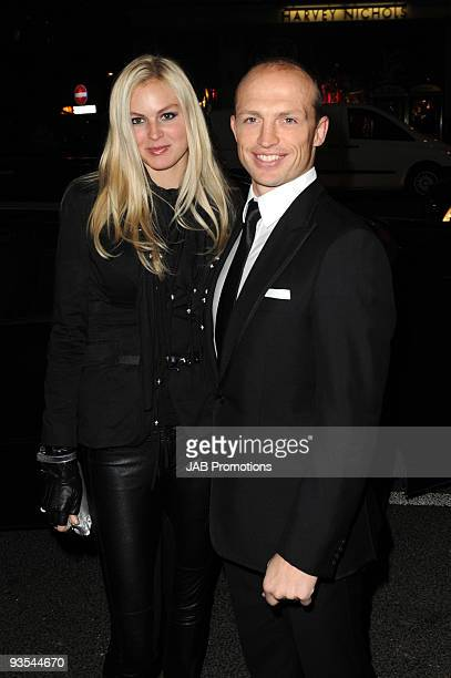 Former rugby union player Matt Dawson and a guest attend the AUDI Arrivals at The Morgan's awards hosted by Piers Morgan at Mandarin Oriental Hyde...
