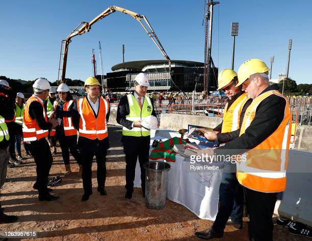 Former Rugby Union player Phil Waugh Acting NSW Sports Minister Geoff Lee Former Rugby League player Brad Fittler and Socceroos Coach Graham Arnold...