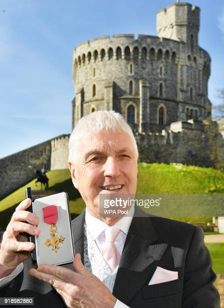 WINDSOR ENGLAND FEBRUARY FEBRUARY 16 Former rugby union referee Edward Morrison holds his OBE that was presented to him by Queen Elizabeth II at an...
