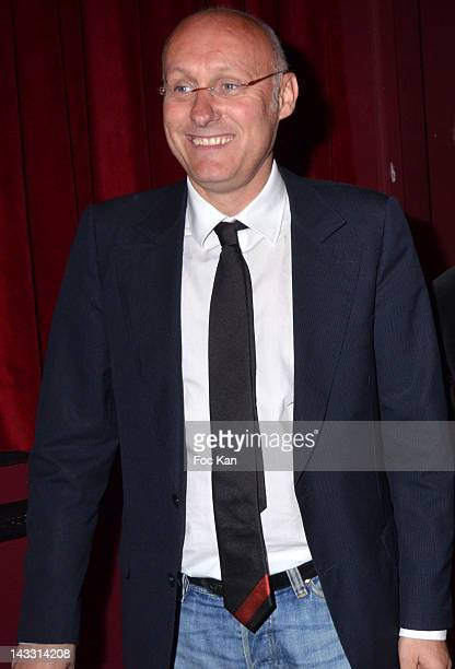Former rugbyman/coach Bernard Laporte attends the Vincent Moscato 'One Man Chaud' Generale at L'Olympia on April 23 2012 in Paris France