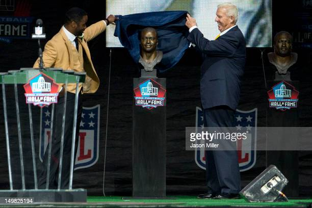 Former running back Curtis Martin left presented by his former coach Bill Parcells right during the Class of 2012 Pro Football Hall of Fame...