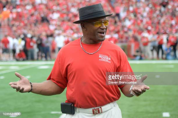Former running back Mike Rozier of the Nebraska Cornhuskers was honored during the game against the Colorado Buffaloes at Memorial Stadium on...