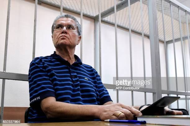 TOPSHOT Former Russian economy minister Alexei Ulyukayev accused of taking a 2million dollars bribe attends a hearing at the Zamoskvoretsky district...
