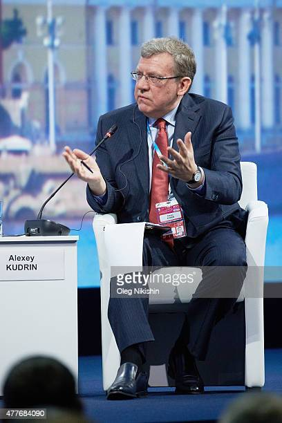Former Russian Finance Minister Alexey Kudrin attends a session of the SPIEF2015 Saint Petersburg International Economic Forum on June 18 2015 in...