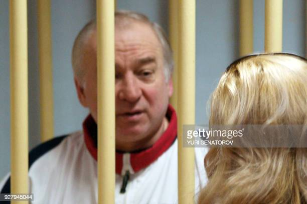 Former Russian military intelligence colonel Sergei Skripal attends a hearing at the Moscow District Military Court in Moscow on August 9 2006 Sergei...