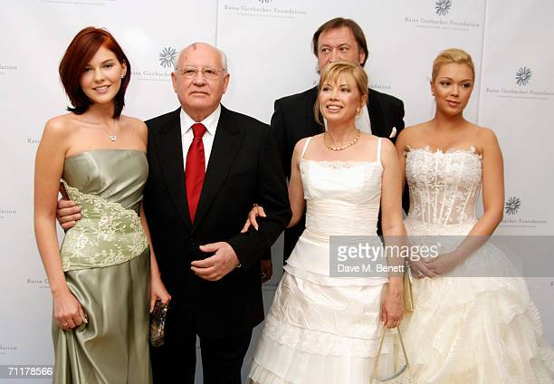 Former Russian president Mikhail Gorbachev poses with his grand-daughter Anastasia Virganskaya, daughter Irina Virganskaya and grand-daughter Ksenia...