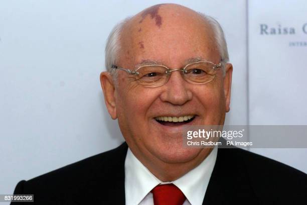Former Russian President Mikhail Gorbachev smiles as he arrives at the Raisa Gorbachev Foundation Russian Ball held at Althorp House Northamptonshire