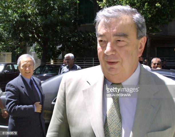 Former Russian Prime Minister Yevgeny Primakov arrives for a meeting with Syrian Foreign Minister Faruq al-Shara in Damascus 29 May 2001. Primakov is...