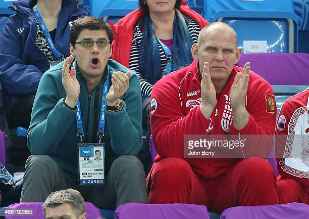 Former Russian swimmer Alexander Popov and former grecoroman wrestler Alexander Karelin attend the Figure Skating Pairs Short Program on day 4 of the...