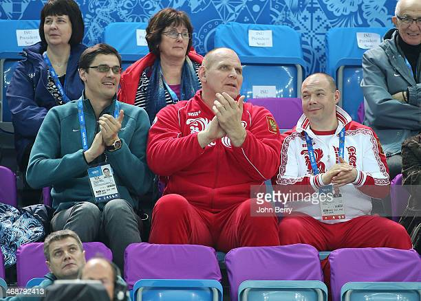 Former Russian swimmer Alexander Popov and former grecoroman wrestler Alexander Karelin and George Bryusov attend the Figure Skating Pairs Short...