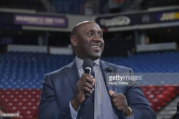 Former Sacramento King Bobby Jackson address the fans prior to the Sacramento Kings take on the San Antonio Spurs at Sleep Train Arena on February...