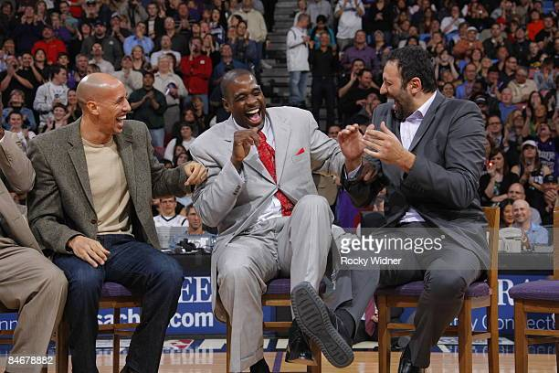 Former Sacramento King Chris Webber along with Doug Christie and Vlade Divac has his jersey retired during halftime against the Utah Jazz on February...