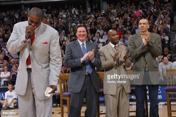 Former Sacramento King Chris Webber has his jersey retired during halftime against the Utah Jazz along with Geoff Petrie, Mateen Cleaves and Doug...
