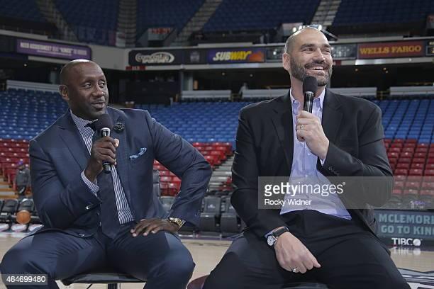 Former Sacramento Kings Bobby Jackson and Scot Pollard address the fans prior to the Sacramento Kings take on the San Antonio Spursat Sleep Train...