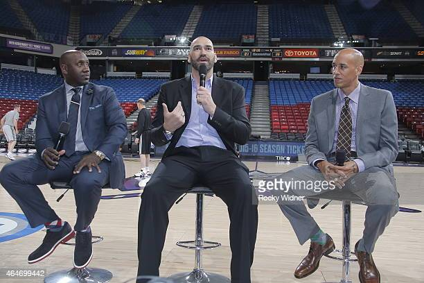 Former Sacramento Kings Bobby Jackson Scot Pollard and Doug Christie address the fans prior to the Sacramento Kings take on the San Antonio Spurs at...