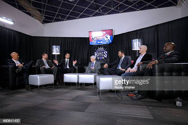 Former Sacramento Kings Doug Christie Brad Miller Peja Stojakovic Vlade Divac Scot Pollard and Bobby Jackson meet with the media prior to the...