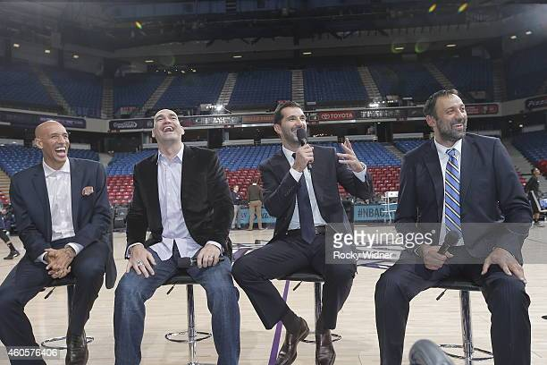 Former Sacramento Kings Doug Christie Scot Pollard Peja Stojakovic and Vlade Divac before the game between the Sacramento Kings and the Oklahoma City...