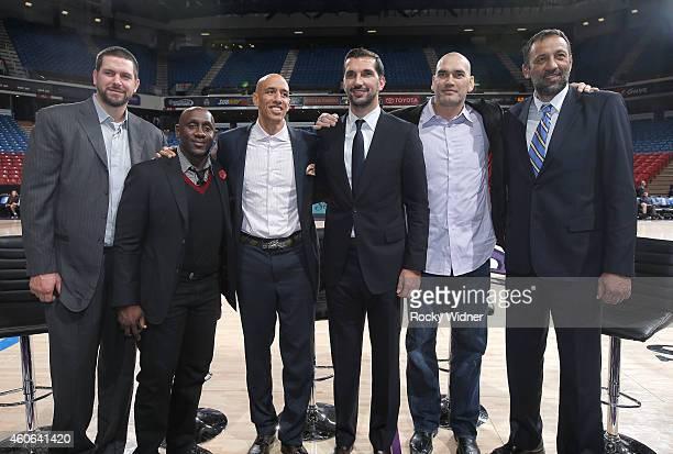 Former Sacramento Kings players Brad Miller Bobby Jackson Doug Christie Peja Stojakovic Scot Pollard and Vlade Divac pose for a photo prior to the...