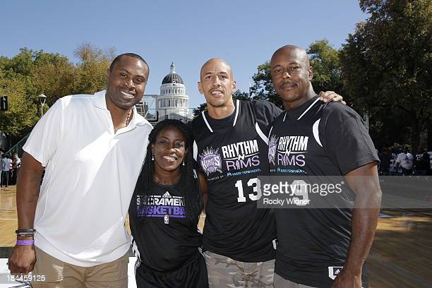 Former Sacramento players Kenny Thomas Ruthie BoltonHolyfield Doug Christie and Henry Turner pose for a photo after the Sacramento Kings Outdoor...