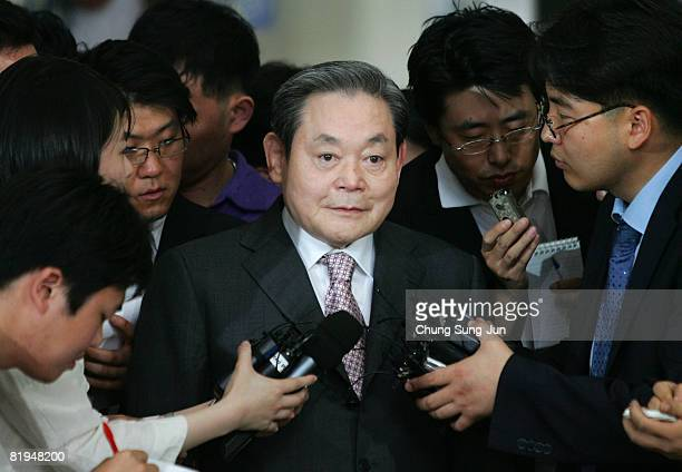 Former Samsung Group Chairman Lee Kun-hee leaves the Seoul Central District Court on July 16, 2008 in Seoul, South Korea. Lee received a three-year...