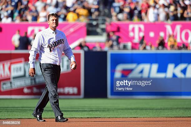 Former San Diego Padre Trevor Hoffman walks on the field prior to the 87th Annual MLB AllStar Game at PETCO Park on July 12 2016 in San Diego...