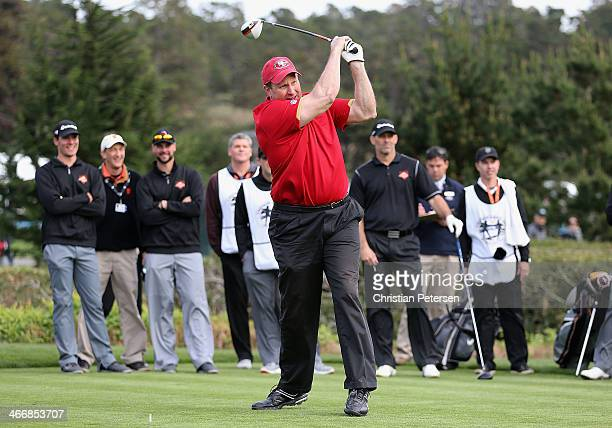 Former San Francisco 49ers tight end Brent Jones hits a tee shot on the third hole during the 4th Annual Chevron Charity ShootOut ahead of the ATT...