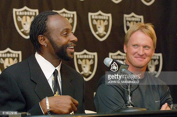 Former San Francisco 49ers widereceiver Jerry Rice responds to questions after being introduced as a new Oakland Raider by head coach Jon Gruden 05...