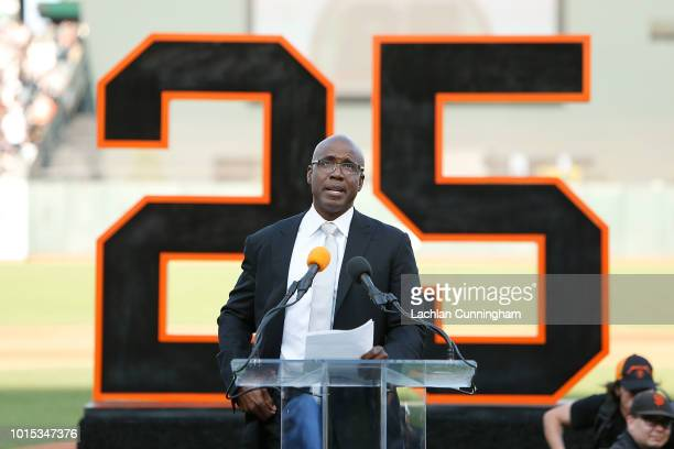 Former San Francisco Giants player Barry Bonds speaks at a ceremony to retire his jersey at ATT Park on August 11 2018 in San Francisco California