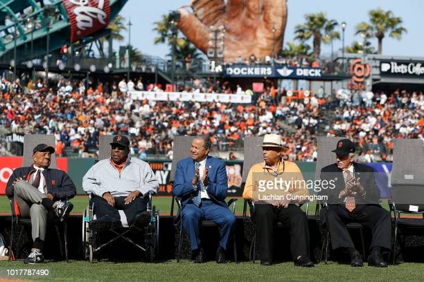 Former San Francisco Giants players Willie Mays Willie McCovey Juan Marichal Orlando Cepeda and Gaylord Perry look on during a ceremony to retire...