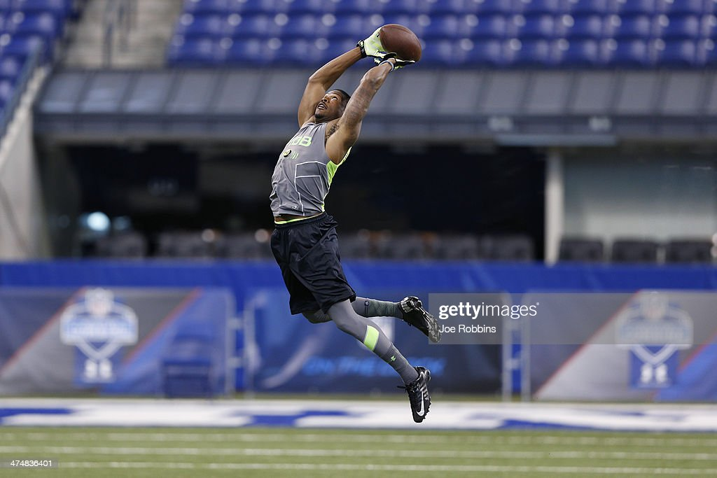 Former San Jose State defensive back Bene Benwikere goes high to catch the ball during the 2014 NFL Combine at Lucas Oil Stadium on February 25, 2014 in Indianapolis, Indiana.