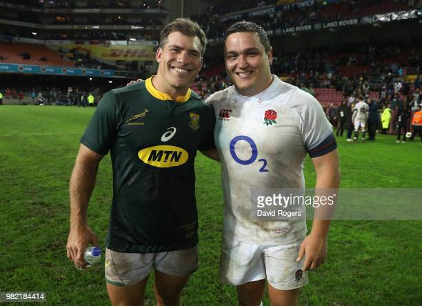 Former Saracens hookers and team mates Schalk Brits of South Africa and Jamie George of England poses after the third test match between South Africa...