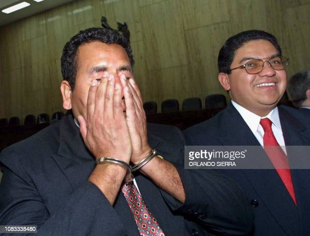 Former Sargent Major of the Guatemalan Military Obdulio Villanueva reacts 31 January 2003 after a hearing in the Supreme Court where the parties in...