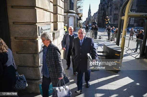 Former Scottish First Minister Alex Salmond arrives at Edinburgh High Court, where his defence lawyer will make his closing speech prior to the jury...