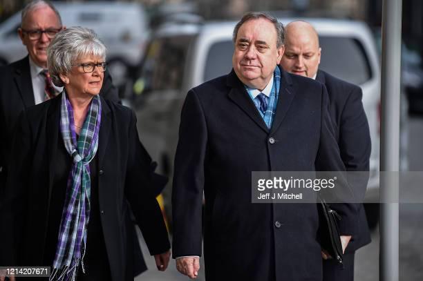 Former Scottish First Minister Alex Salmond arrives at Edinburgh High Court on March 23, 2020 in Edinburgh, Scotland. The jury in the Alex Salmond...