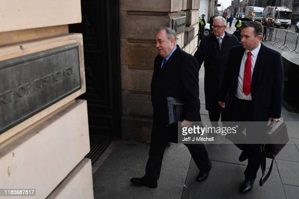 Former Scottish first minister Alex Salmond arrives at the High Court for a preliminary hearing on sexual assault charges on November 21 2019 in...