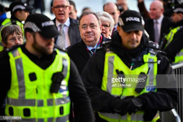 Former Scottish first minister Alex Salmond arrives at the High Court for a preliminary hearing on sexual assault charges on January 22 2020 in...